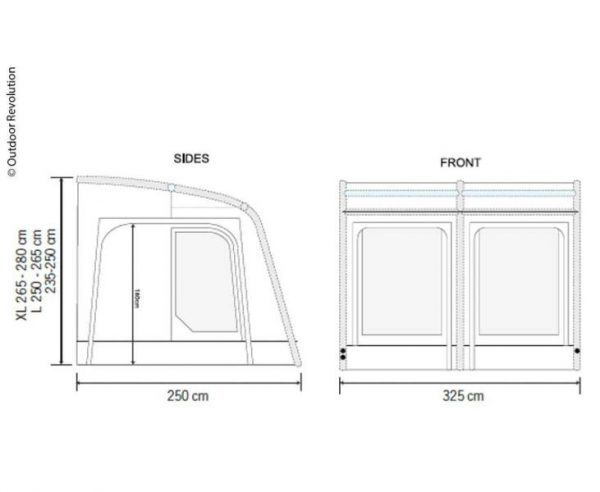 Avance ligero Caravana hinchable Teilzelt E-Sport Air 325 L 5