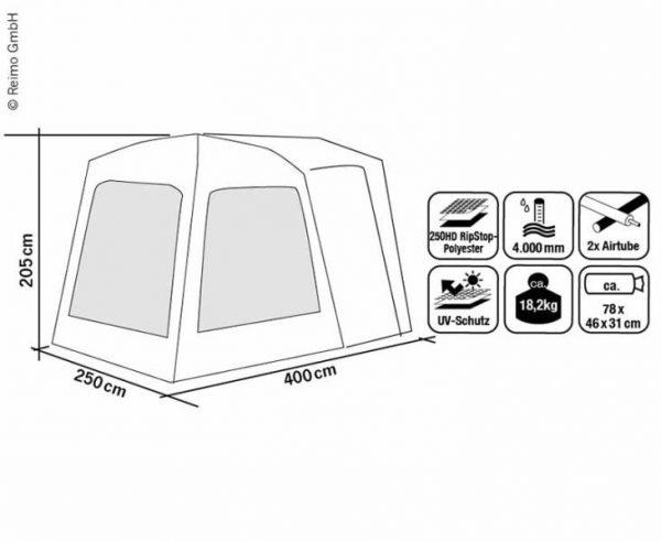 Carpa trasera para Furgoneta Movelite carpa de aire B250xT400xH180-240cm 2