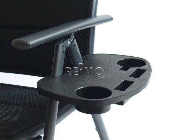Mesa auxiliar para silla de camping, negra, con 4 compartimentos. 5