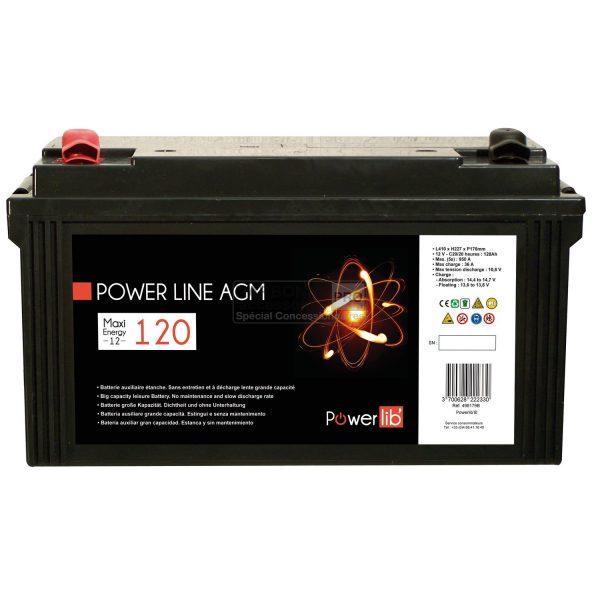 Batería auxiliar Powerlib Power Line AGM 120 Amp 1