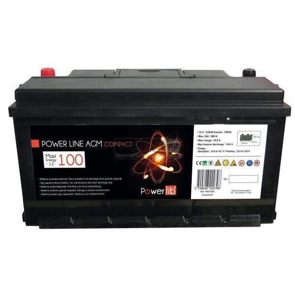 Power Line AGM 100 Amp Compact Powerlib batería auxiliar Standard Auto 1