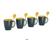 Juego de 4 tazas Melamina con cucharillas Grey Line Amarillo 1