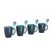 Juego de 4 tazas Melamina con cucharillas Grey Line Azul 1