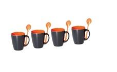 Juego de 4 tazas Melamina con cucharillas Grey Line Naranja 1