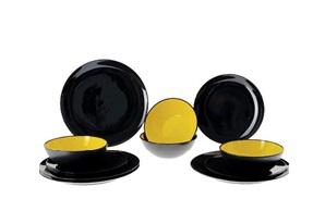 Vajilla Elegante de Melamina Juego de 12 piezas Grey line negra y amarilla 1