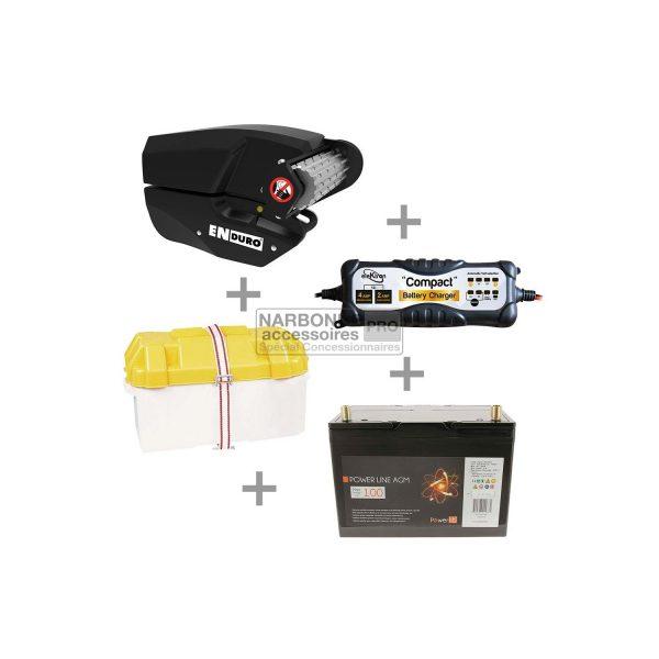Aparca-caravanas EM303A paquete automático + batería de 100 amperios + bandeja de batería + cargador de batería de 4 amperios 1