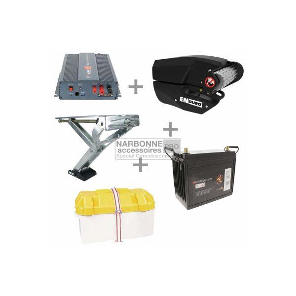 Aparca-caravanas Pack EM303A Luxe + Batería 140Amp + Bandeja + Cargador 15Amp + Cilindro eléctrico para chasis Al-ko 1